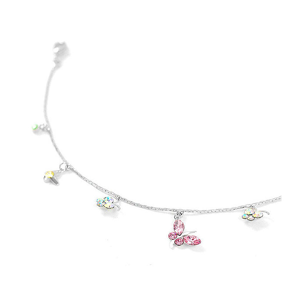 Butterfly Anklet with Multi-color Austrian Element Crystal and CZ