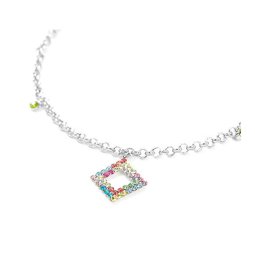 Elegant Square charms and Small Bell Anklet with Multi-color Austrian Element Crystals