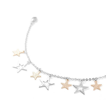 Anklet with Silver and Golden Star Charms