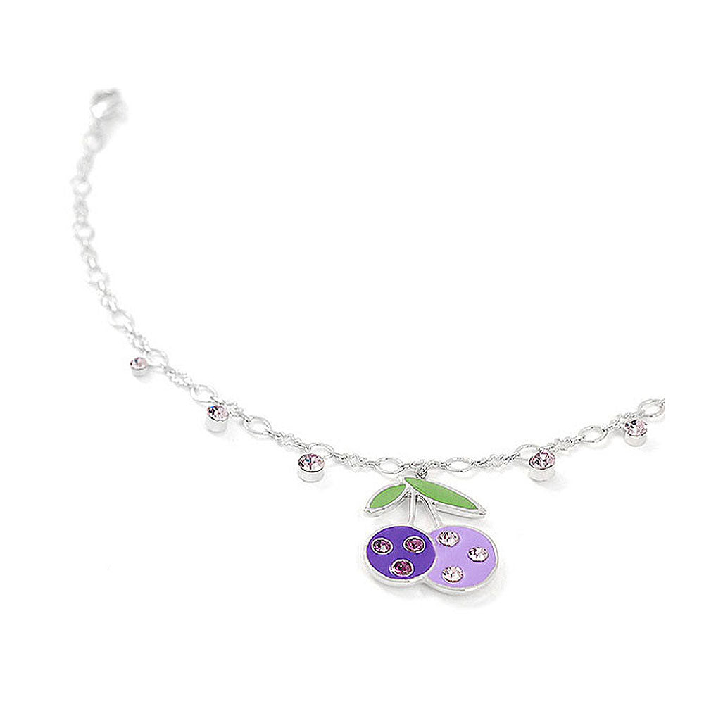 Cutie Purple Berry Anklet with Purple Austrian Element Crystals