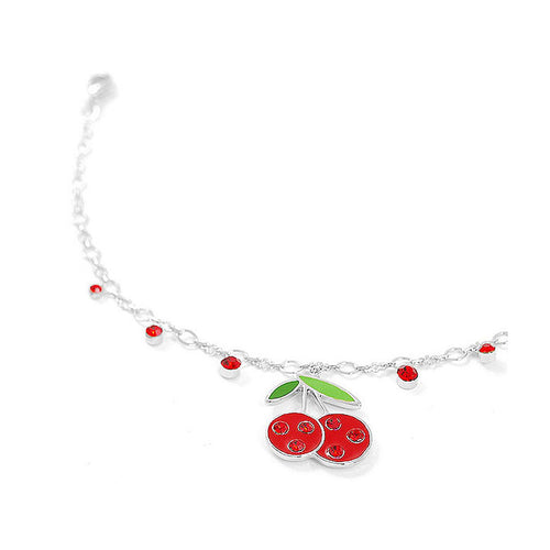 Cutie Red Berry Anklet with Red Austrian Element Crystals