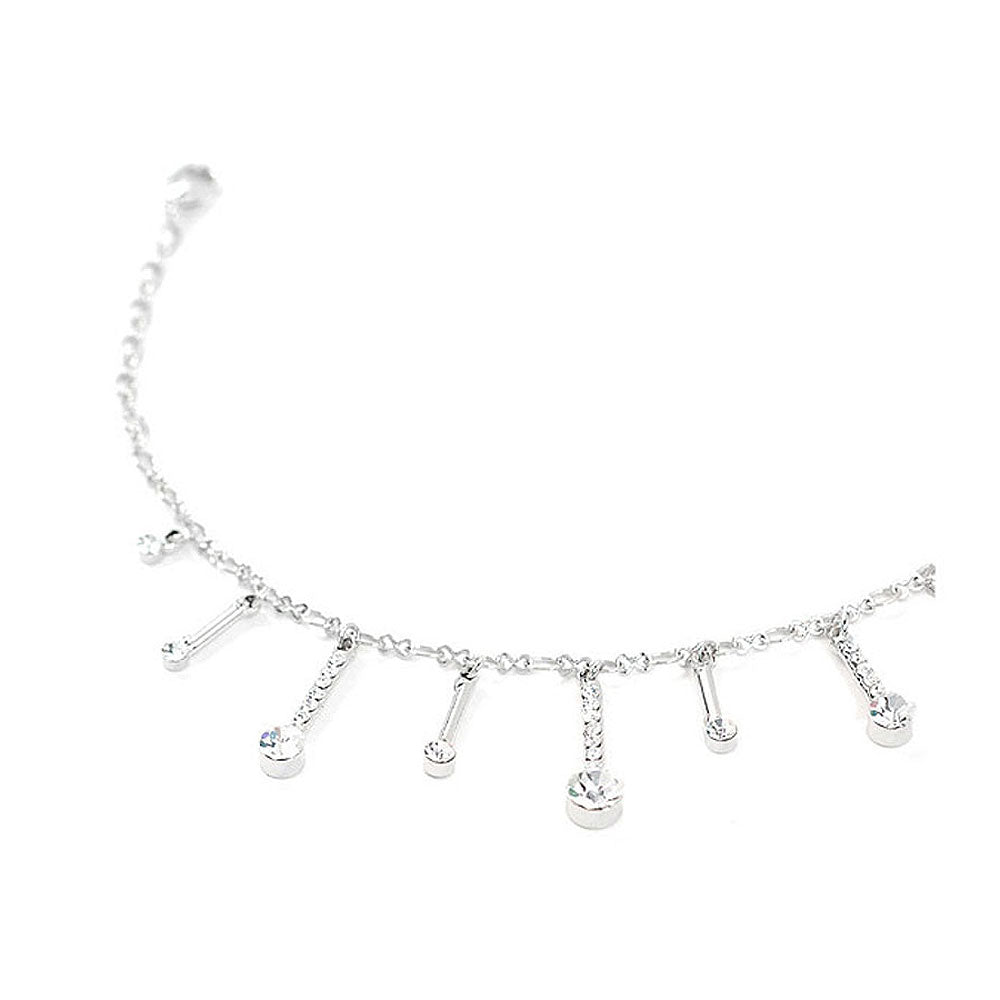 Elegant Charms Anklet with Silver Austrian Element Crystals