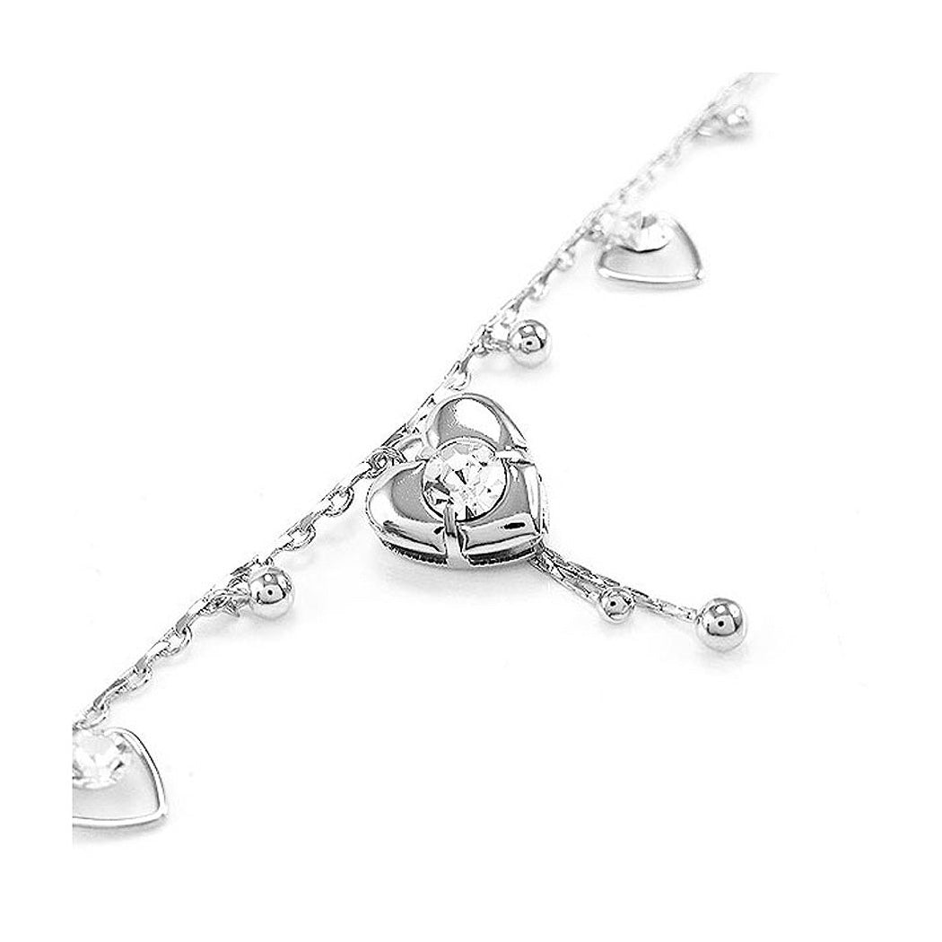 Elegant Heart Anklet with Silver Austrian Element Crystals