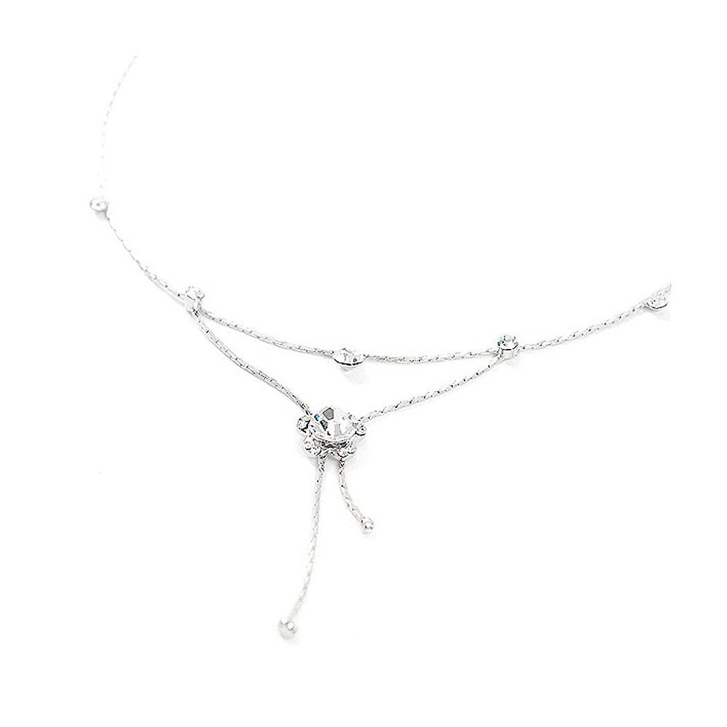 Flower Anklet with Silver Austrian Element Crystals