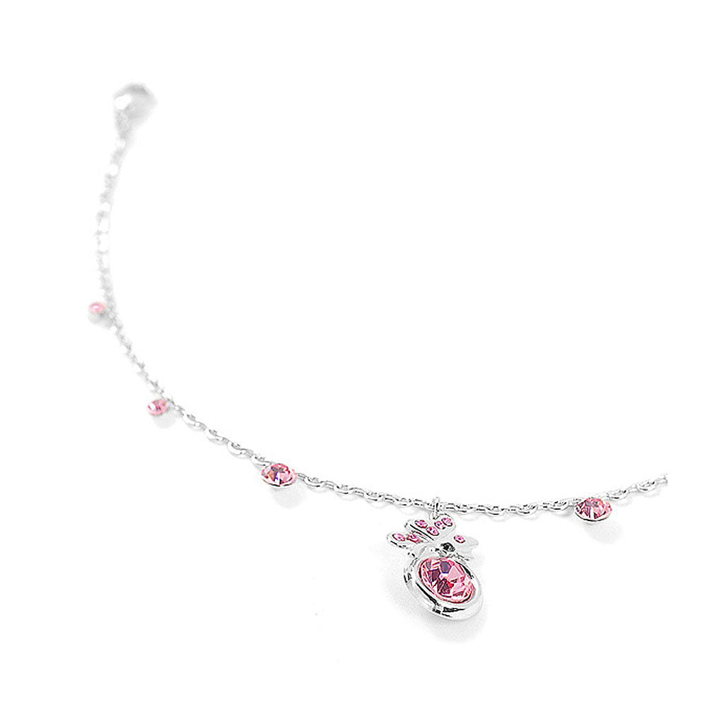 Butterfly Anklet with Pink Austrian Element Crystal and CZ