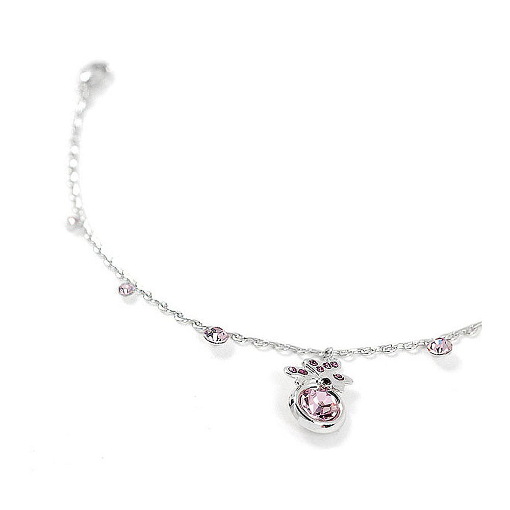Butterfly Anklet with Purple Austrian Element Crystal and CZ