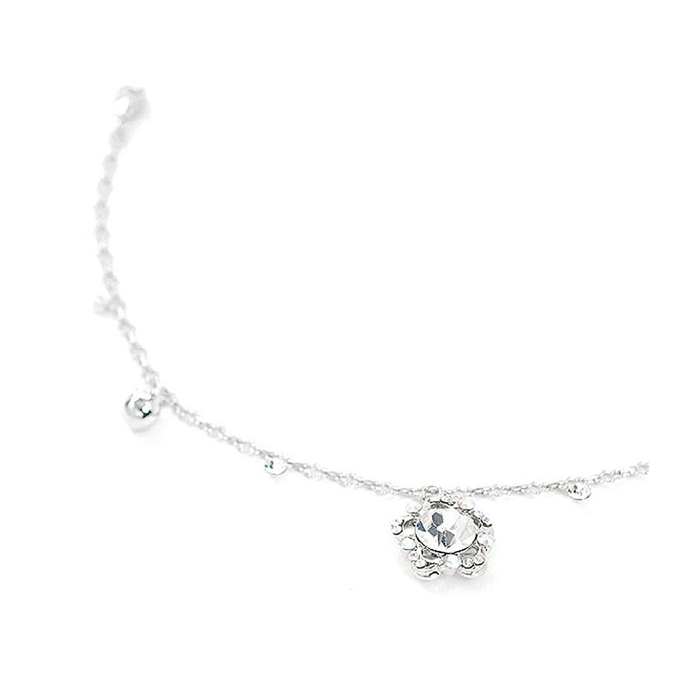 Elegant Flower Anklet with Silver Austrian Element Crystals
