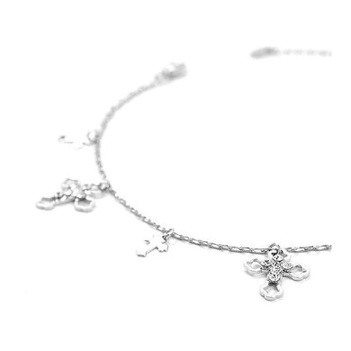 Elegant Cross on Anklet with Silver Austrian Element Crystals