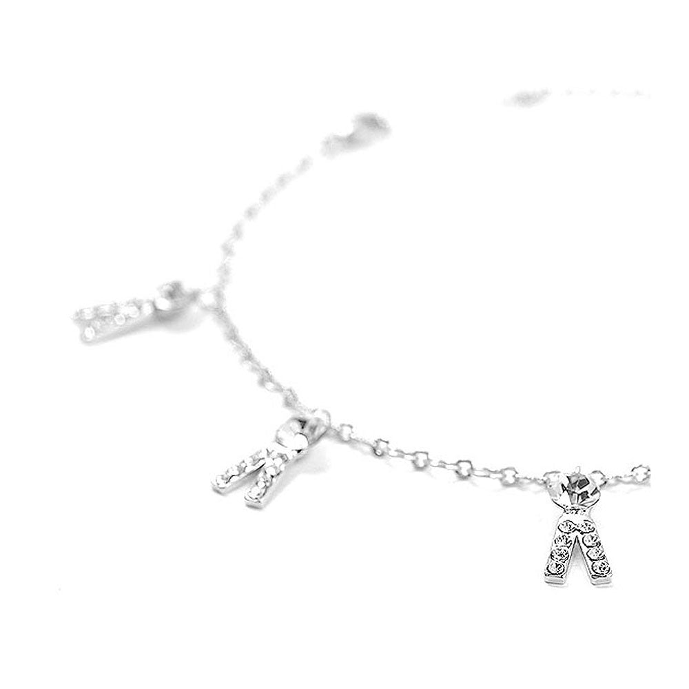 Fancy Trousers Anklet with Silver Austrian Element Crystals