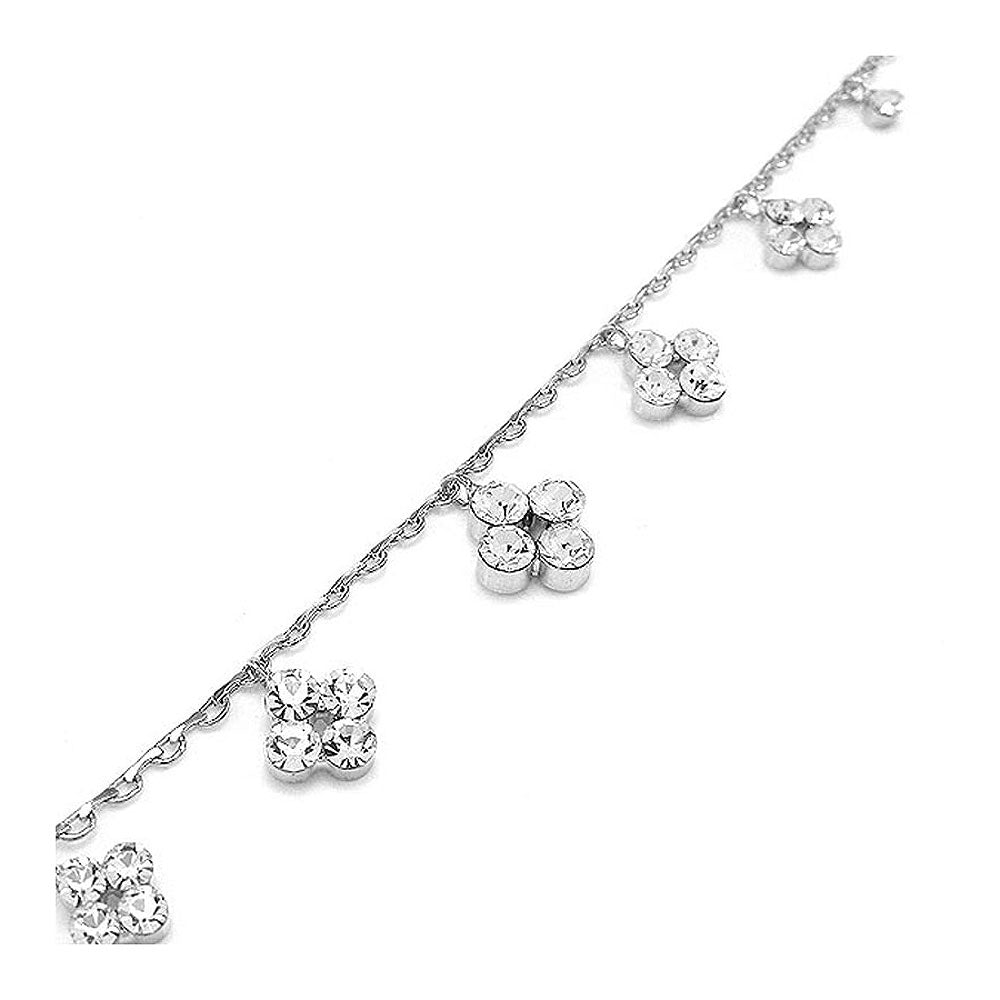 Simple Anklet with Silver Austrian Element Crystals