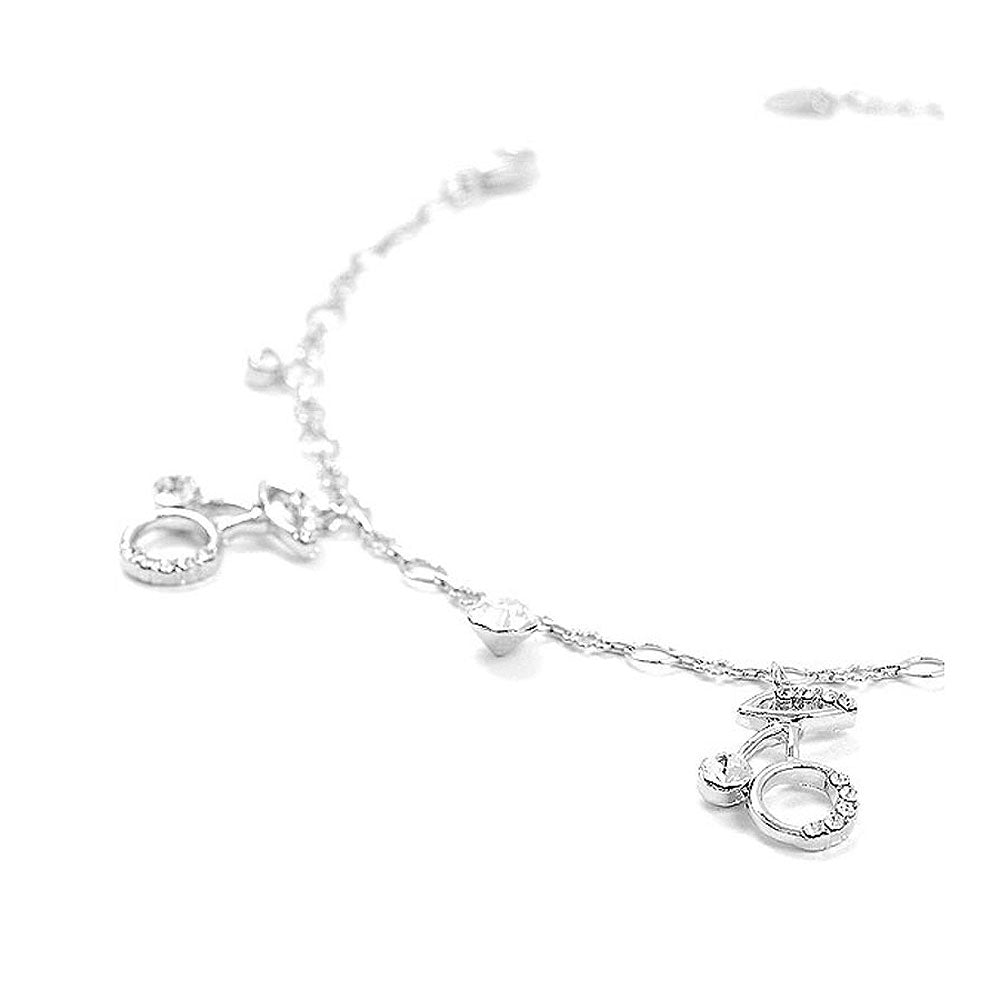 Elegant Berry Anklet with Silver Austrian Element Crystals