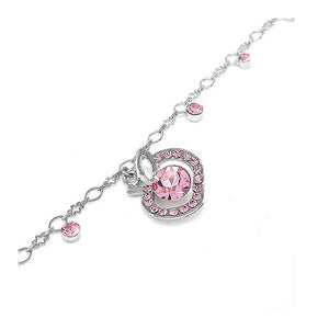 Elegant Apple Anklet with Pink Austrian Element Crystals