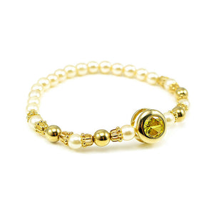 Fancy Fashion Pearl Bracelet with Yellow Austrian Element Crystal