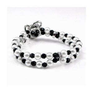 Fancy Fashion Pearl Bracelet with Silver Austrian Element Crystal
