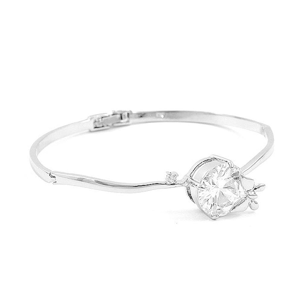Trendy Mini Butterfly Bangle with Silver Austrian Element Crystals and CZ Bead