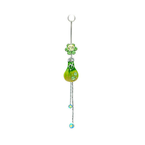 Green Pear Belly Ring with Green Austrian Element Crystals