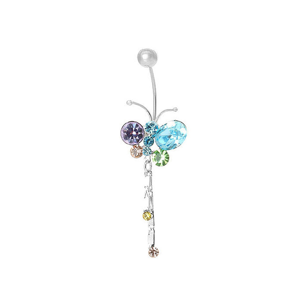 Butterfly Belly Ring with Tassols Multi-color Austrian Element Crystals and CZ