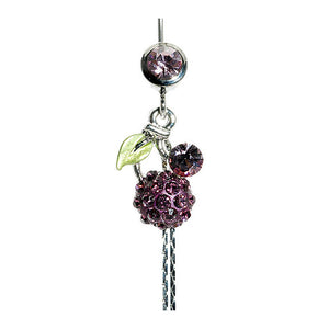 Belly Ring with Green Leaf and Purple Austrian Element Crystals