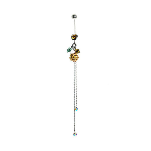 Belly Ring with Green Leaf and Yellow Austrian Element Crystals