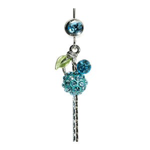 Belly Ring with Green Leaf and Light Blue Austrian Element Crystals