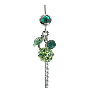 Belly Ring with Green Leaf and Green Austrian Element Crystals