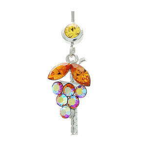 Orange Grape Belly Ring with Yellow and Orange Austrian Element Crystals