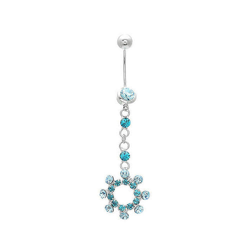 Sparkling Blue Circle Belly Ring with Blue Austrian Element Crystals