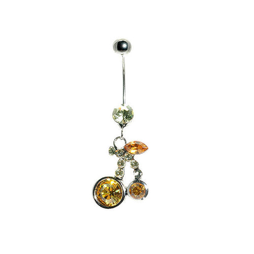 Cherry Belly Ring with Orange Austrian Element Crystals