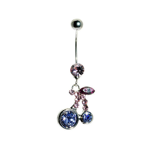 Cherry Belly Ring with Purple Austrian Element Crystals