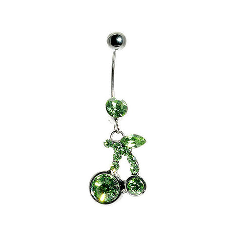 Cherry Belly Ring with Green Austrian Element Crystals