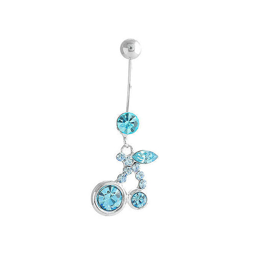 Cherry Belly Ring with Sky Blue Austrian Element Crystals