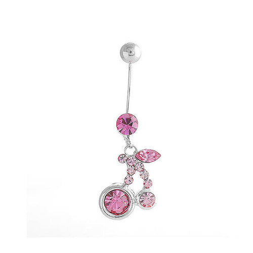 Cherry Belly Ring with Pink Austrian Element Crystals