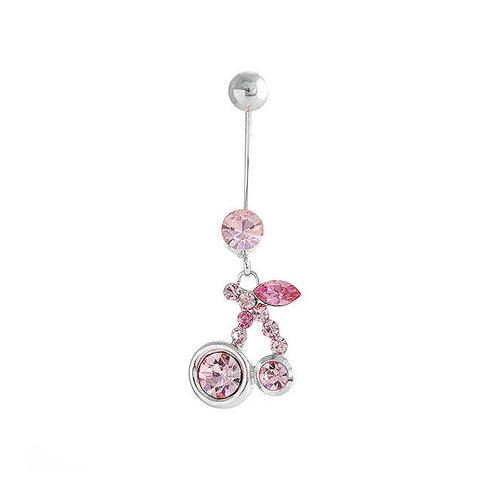 Cherry Belly Ring with Peach Pink Austrian Element Crystals
