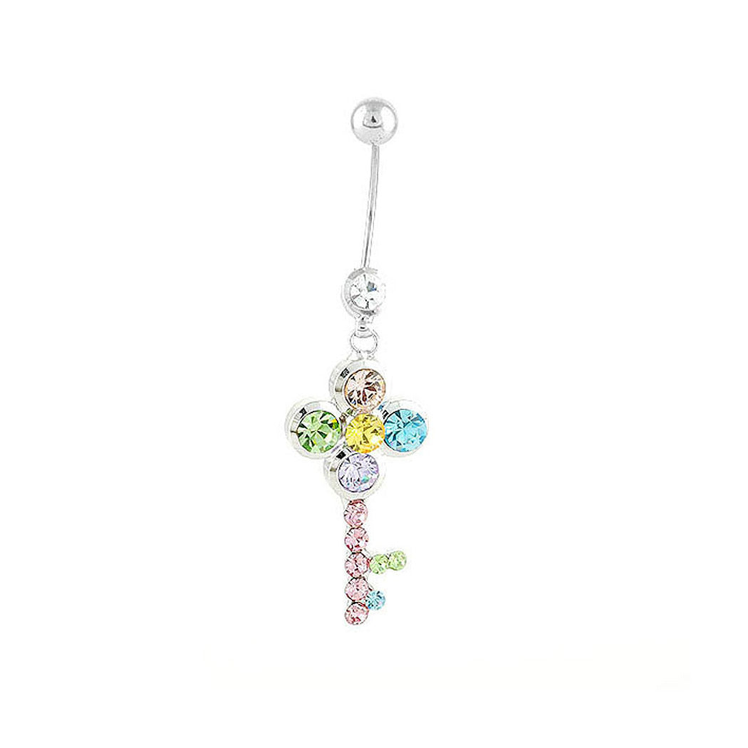 Dazzling Key Belly Ring with Multi Color Austrian Element Crystals and CZ Beads