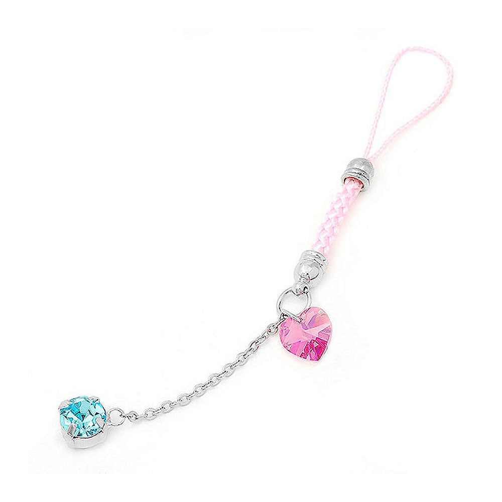 Pink Strap with Pink Heart Crystal Glass and Blue Austrian Element Crystal Tassols