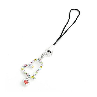 Black Strap with Heart Shape Charms and Multi-color Austrian Element Crystals