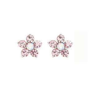 Elegant Flower Earrings with Pink Austrian Element Crystals