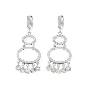 Elegant Round Earrings with Silver CZ