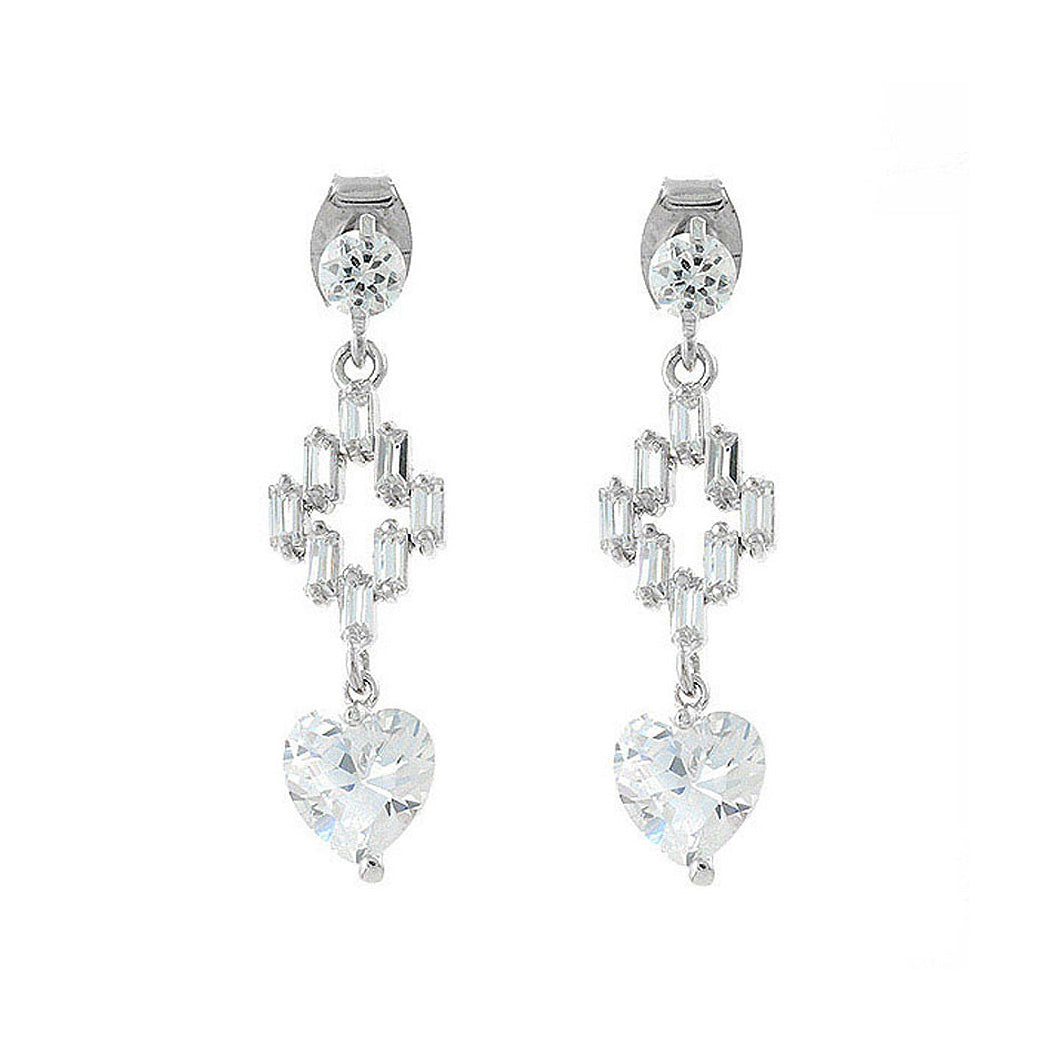 Trendy Heart and Cross Earrings with Silver CZ
