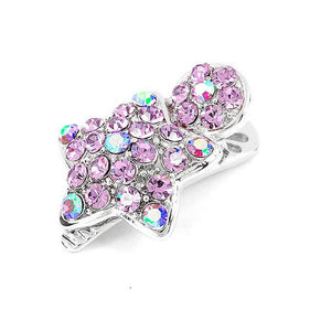 Dazzling Star Hair Clip with Purple CZ and Austrian Element Crystals (1pc)