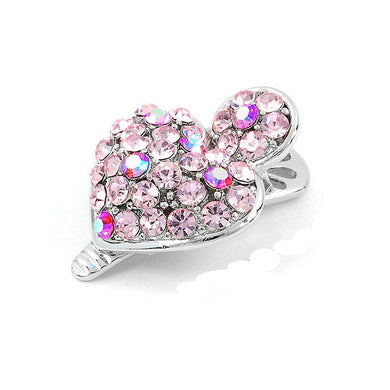 Dazzling Heart Hair Clip with Pink CZ and Austrian Element Crystals (1pc)