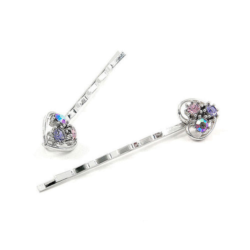 Dazzling Heart Hair Clip with Purple CZ (1 pair)