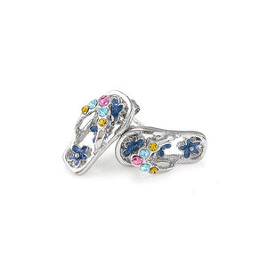 Cutie Blue Purple Shoes Earrings with multi-color CZ