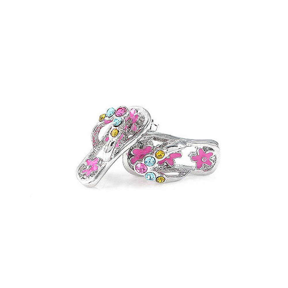 Cutie Pink Shoes Earrings with Multi-color CZ