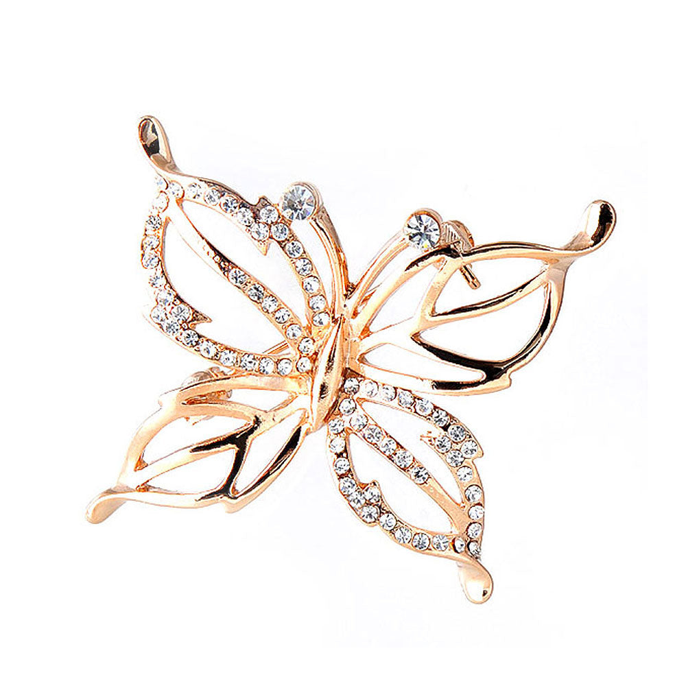 Elegant Butterfly Brooch with Silver Austrian Element Crystals