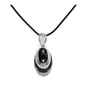Elegant Black Crystal Glass Necklace with Black and Silver Austrian Element Crystals