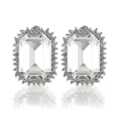Elegant Earrings with Silver Princess Cut Crystal Glass and Silver Austrian Element Crystals (Non Piercing Earrings)