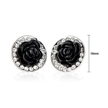 Load image into Gallery viewer, Elegant Black Rose Earrings with Silver Austrian Element Crystals