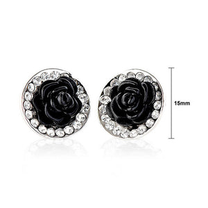 Elegant Black Rose Earrings with Silver Austrian Element Crystals