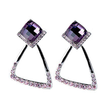 Load image into Gallery viewer, Elegant Earrings with Purple Crystal Glass and Purple Austrian Element Crystals